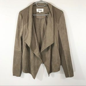 BB Dakota Faux Suede Drape Jacket, Tan, Large